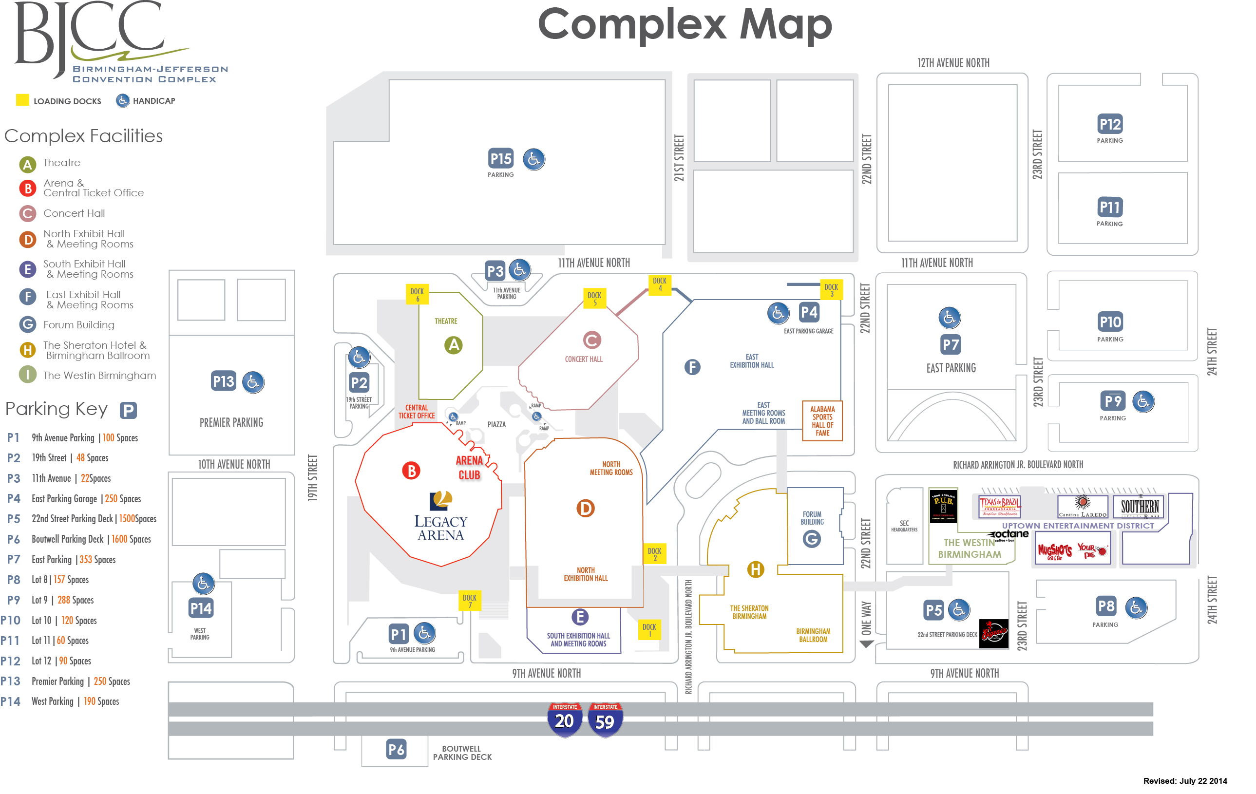 The BJCC Birmingham Alabama - Most up to date maps